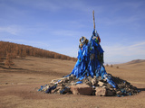 A Mongolian Prayer Mound (Ovoo)  Mongolia  Central Asia  Asia