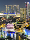 View over Entertainment District of Clarke Quay  Singapore River and City Skyline  Singapore