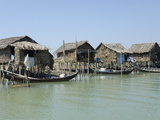 Bamboo Huts and Boats Along a Waterway  Irrawaddy Delta  Myanmar (Burma)  Asia