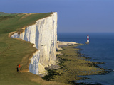 Beachy Head Lighthouse and Chalk Cliffs  Eastbourne  East Sussex  England  United Kingdom  Europe