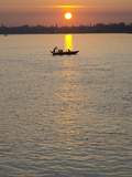 Traditional Rowing Boat on the River at Sunset  Pathein  Irrawaddy Delta  Myamar (Burma)  Asia