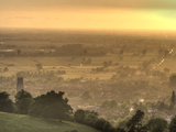 View of Glastonbury During Sunset from Glastonbury Tor  Somerset  England  United Kingdom  Europe