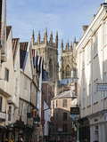 Towers of the Minster from Petergate  York  Yorkshire  England  United Kingdom  Europe