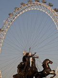 Statue of Boudicca and the London Eye  London  England  United Kingdom  Europe