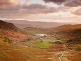 Looking Down Wrynose Pass to Little Langdale in Lake District National Park  Cumbria  England