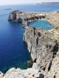 View of the St Paul Bay from the Acropolis of Lindos  Rhodes  Dodecanese  Greek Islands  Greece