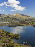 Keswick and Skiddaw Viewed from Catbells  Derwent Water  Lake District Nat'l Park  Cumbria  England