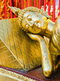 Gold Leaf Reclining Buddha at Wat Doi Suthep Temple  Chiang Mai  Thailand  Southeast Asia  Asia