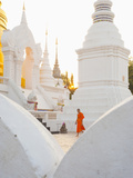 Buddhist Monk Walking around Wat Suan Dok Temple in Chiang Mai  Thailand  Southeast Asia  Asia