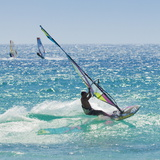 Windsurfer Riding Wave  Bonlonia  Near Tarifa  Costa de La Luz  Andalucia  Spain  Europe