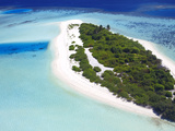 Aerial View of a Desert Island  Maldives  Indian Ocean  Asia