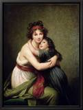 Madame Vigee-Lebrun and Her Daughter, Jeanne-Lucie-Louise (1780-1819) 1789 Tableau sur toile encadré par Elisabeth Louise Vigee-LeBrun