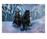 Winter Sled Horses Stomping through Snow