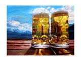 Two Glasses of Beer with Mountains