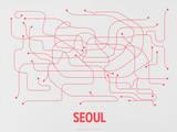 Seoul (Gray & Red) Sérigraphie par LinePosters