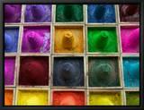 Selling Color Powder at Market, Pushkar, Rajasthan, India Tableau sur toile encadré par Keren Su