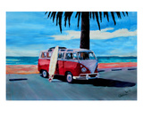 The Red Volkswagen with Palm and Ocean