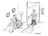 A man walks in through the doorway to see his psychologist He wears a T-s… - New Yorker Cartoon