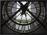 View Across Seine River from Transparent Face of Clock in the Musee d'Orsay, Paris, France Tableau sur toile encadré par Jim Zuckerman