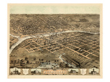 1868  Des Moines Bird's Eye View  Iowa  United States