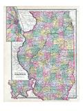 1892  State Map  Illinois  United States