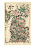 1881, Michigan State Map, Wisconsin, United States Giclée