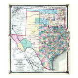 1875  Texas and Indian Territory Map  United States