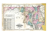 1877  State Map of Maryland - Delaware - DC  Maryland  United States