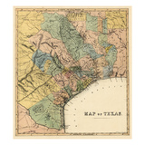1840s  Texas State Map  Texas  United States