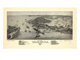 1884  Cedar Key Bird's Eye View  Florida  United States