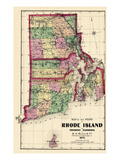 1870  State Map - Rhode Island  Providence and Plantations  Block Island  Rhode Island  United Stat