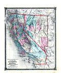 1876  County Map of California and Nevada  United States