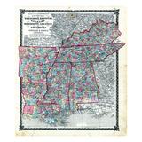 1876  County Map Tennessee  Kentucky  Alabana  Mississippi  Arkansas and Louisiana  Missouri  Unite