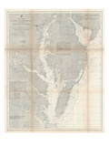 1866, Chesapeake Bay and Virginia's Eastern Shore Chart Virginia, Virginia, United States Giclée