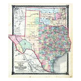 1876  County Map of Texas and Indian Territory  Missouri  United States