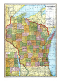 1919  State Map  Wisconsin  United States