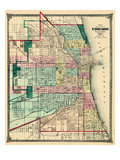 1875  Chicago City Map  Illinois  United States
