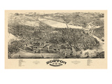 1880  Boston Bird's Eye View  Massachusetts  United States