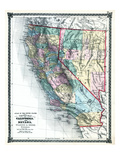 1875  California and Nevada States Map  United States