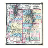 1875  Colorado  Utah  New Mexico and Arizona States Map  United States
