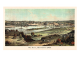 1874  St Paul 1874 Bird's Eye View  Minnesota  United States