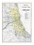 1911  Chicago Railroad Map 1911  Illinois  United States