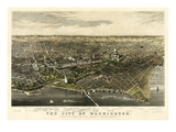 1880  Washington 1880c Bird&#39;s Eye View  District of Columbia  United States