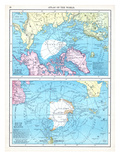 1913, North Pole, South Pole, North and South Polar Regions Giclée