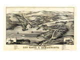 1878  New Castle and Damariscotta Bird's Eye View  Maine  United States