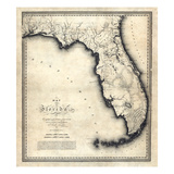 1823, Florida State Map, Florida, United States Giclée