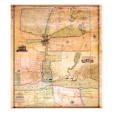 1851  Augusta Wall Map  Maine  United States