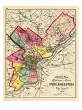 1872  Philadelphia County and City Outline Map  Pennsylvania  United States