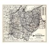 1883  Ohio State and Railroad Map  Ohio  United States