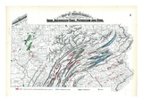 1872  Iron  Anthracite Coal  Petroleum and Zinc Map  Pennsylvania  United States